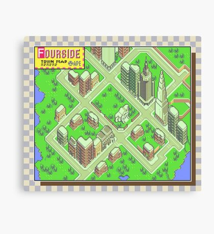 Fourside Town Map - Earthbound/Mother 2 Canvas Print