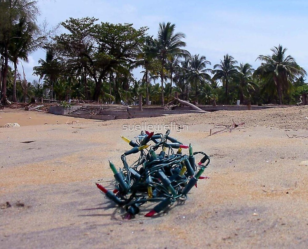 Isn't it life ironic don't you think? Xmas lights washed up at Koh Lak, Thailand  by suellewellyn