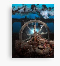 Diver at wheelhouse Canvas Print
