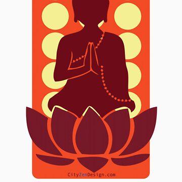 Meditating Buddha - red by CityZenDesign