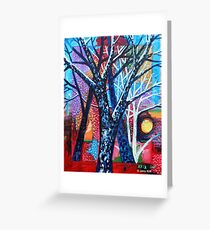 'Trees in an Abstract Sunset' Greeting Card