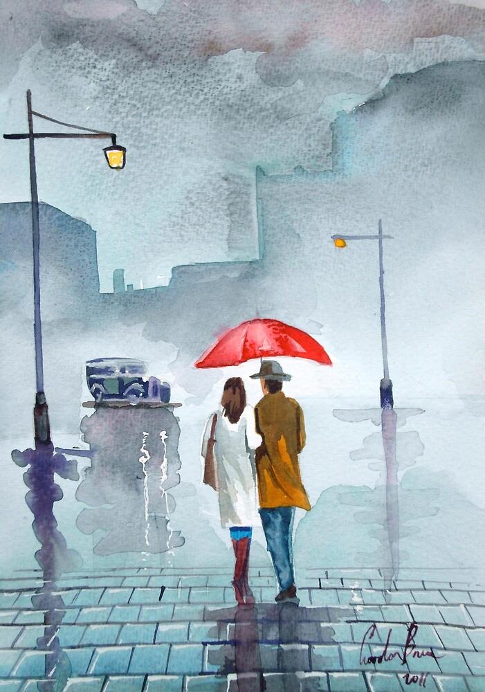 Rainy day red umbrella watercolour painting by GORDON BRUCE ART
