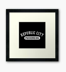 Republic City Probending (White on Black) Framed Print