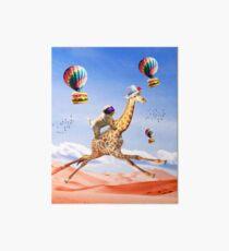 Cute Dog Giraffe - Dog Riding Flying Giraffe Art Board Print