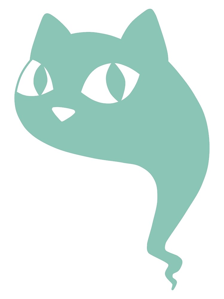 Cat Ghost Teal by DeliriumLina
