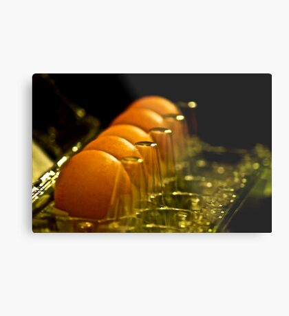Two for my breakfast..crook! that pretty hen replied...: On Featured: Still-life-photography Group Metal Print