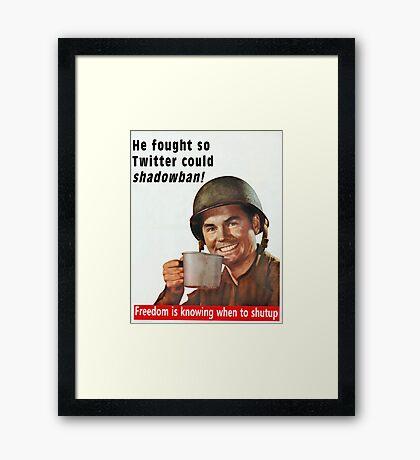 He Fought for Twitter Shadowbans Framed Print