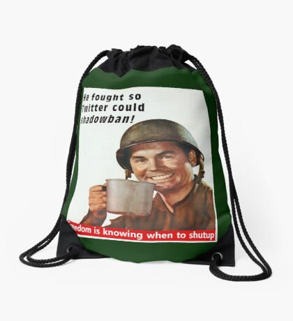 He Fought for Twitter Shadowbans Drawstring Bag