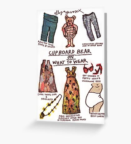Pregnancy: Cupboard Bear on What to Wear Greeting Card