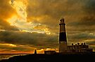 Portland Lighthouse & Obelisk at Dusk, Dorset, UK by David Carton