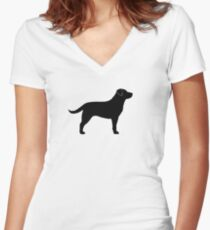 Black Labrador Retriever Silhouette(s) Women's Fitted V-Neck T-Shirt