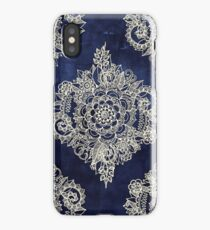 Cream Floral Moroccan Pattern on Deep Indigo Ink iPhone Case/Skin