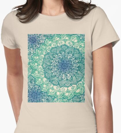 Emerald Doodle Womens Fitted T-Shirt