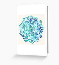 Watercolor Medallion in Ocean Colors Greeting Card
