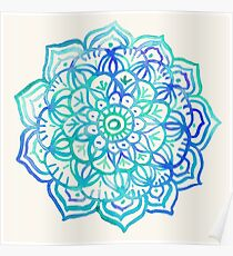 Watercolor Medallion in Ocean Colors Poster