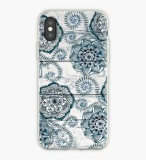 Shabby Chic Navy Blue doodles on Wood iPhone Case