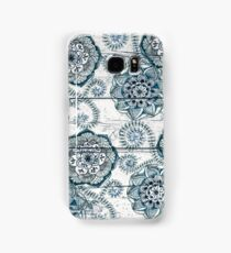 Shabby Chic Navy Blue doodles on Wood Samsung Galaxy Case/Skin