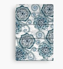 Shabby Chic Navy Blue doodles on Wood Canvas Print