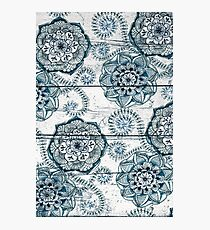 Shabby Chic Navy Blue doodles on Wood Photographic Print
