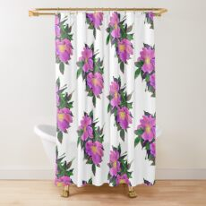 Dog rose draw digitally in oil technique  Shower Curtain