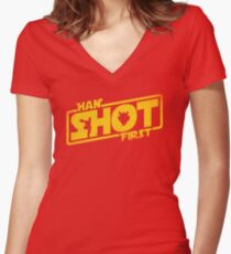 Han Shot First Women's Fitted V-Neck T-Shirt