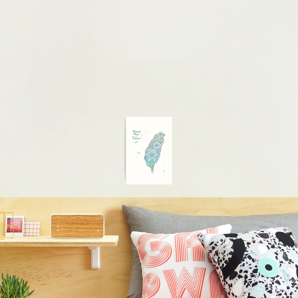 Floral map of Taiwan - water  Photographic Print