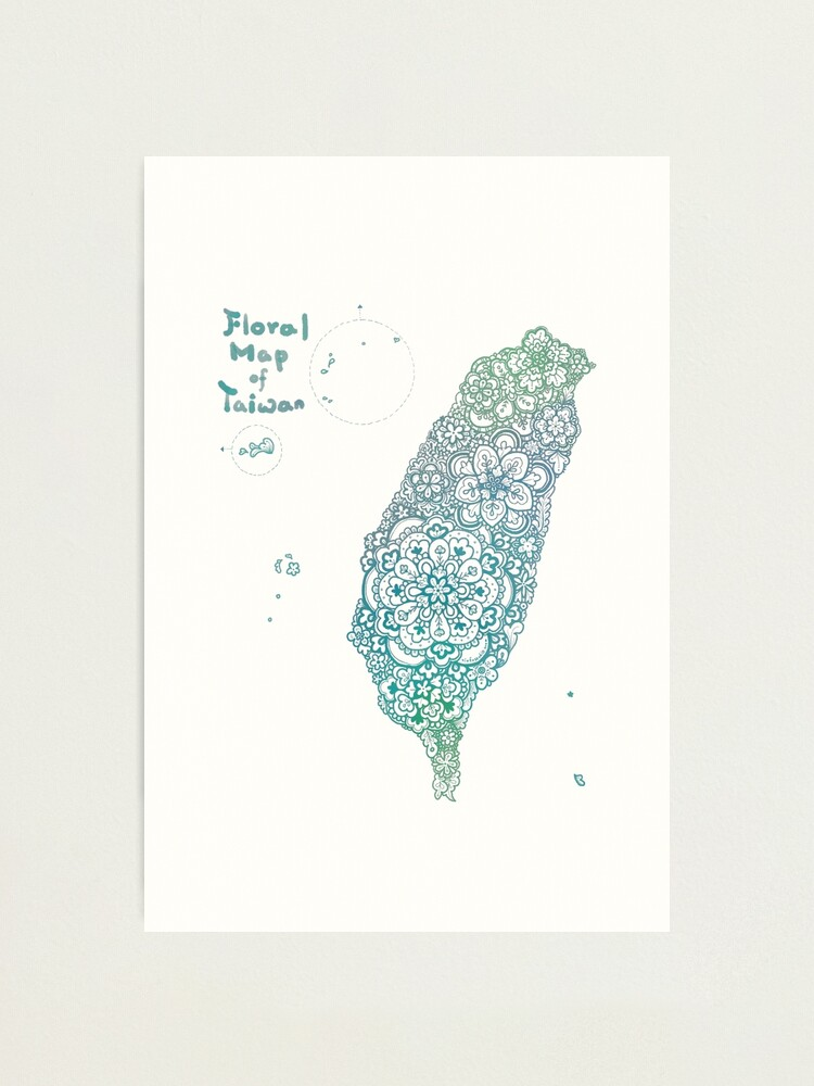 Alternate view of Floral map of Taiwan - water  Photographic Print