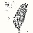 Floral map of Taiwan - black by isfeather