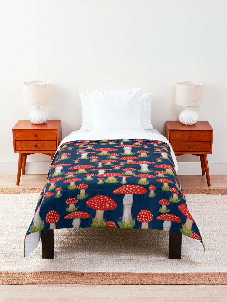 Alternate view of red toadstools / red mushrooms Comforter