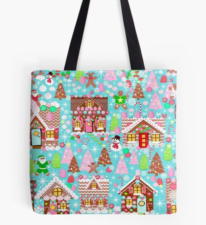 Christmas Gingerbread House, Holiday Village Tote Bag