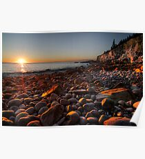 Sunrise at Rocky Beach, Acadia NP, ME Poster