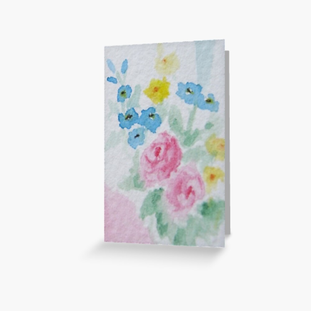 Pastel Floral Watercolor in Shabby Chic Greeting Card