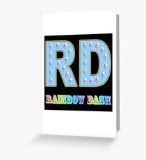 My little Pony - Initials Rainbow Dash - Black Greeting Card