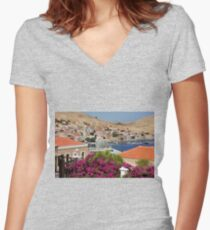 Nimborio village Women's Fitted V-Neck T-Shirt