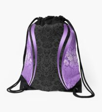 Lavenders and Black Damask And Dynamics Stripes Drawstring Bag