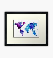 Watercolor Map of the World Framed Print