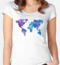 Watercolor Map of the World Women's Fitted Scoop T-Shirt