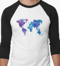 Camiseta ¾ estilo béisbol Mapa de acuarela del mundo