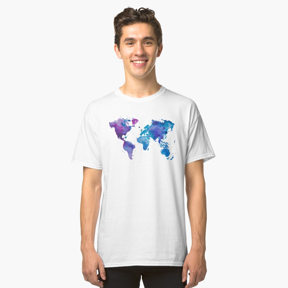 Aquarell Karte der Welt Classic T-Shirt