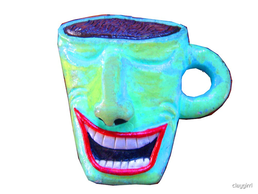 wacky smiling coffee cup by claygirrl