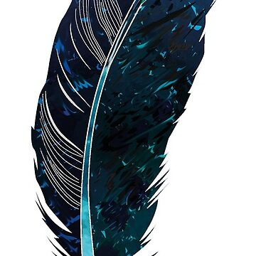 Classy blue feather by Halfpen