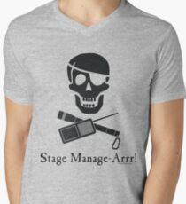 Stage Manage-Arrr! Black Design V-Neck T-Shirt