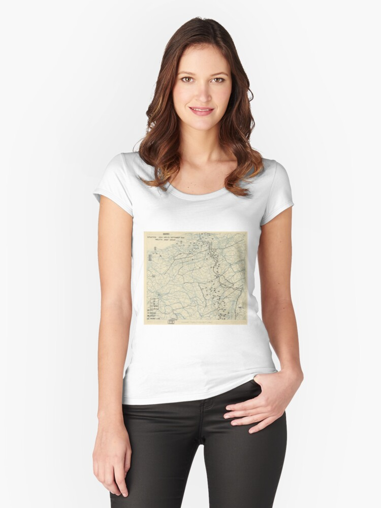 World War II Twelfth Army Group Situation Map September 25 1944 Women's Fitted Scoop T-Shirt Front