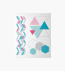 Geometric Shapes Blue Pink Abstract Art Board Print