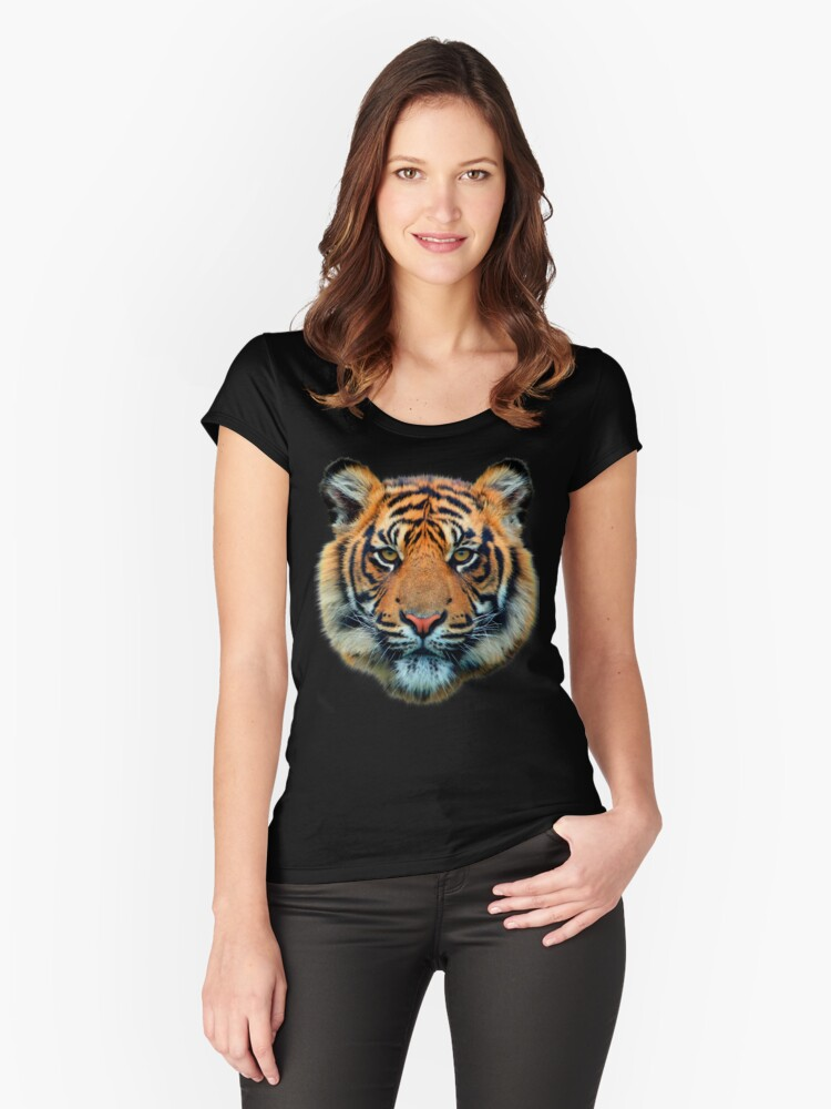 Tiger Head Women's Fitted Scoop T-Shirt Front