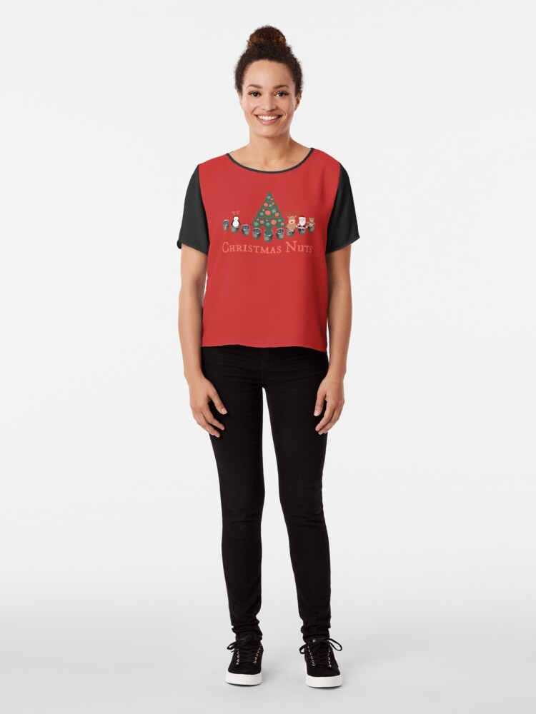 Alternate view of Christmas Nuts - Have yourself a Truly Nutty Holiday Season Chiffon Top