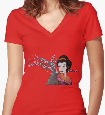 Geisha Women's Fitted V-Neck T-Shirt