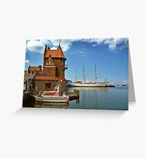 MVP64 Stralsund Harbour & Gorch Fock l, Germany. Greeting Card