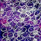 Abstract Painting Drawing of Violet Flowers by Cara Schingeck