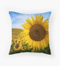 Sunflower Field in Valensole - Provence, France Throw Pillow